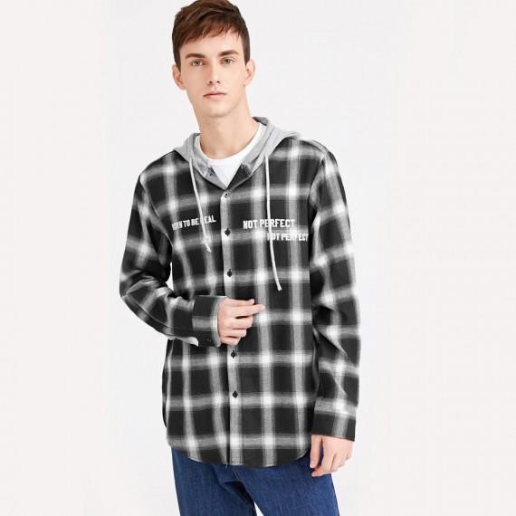 Plaid Hooded Shirt
